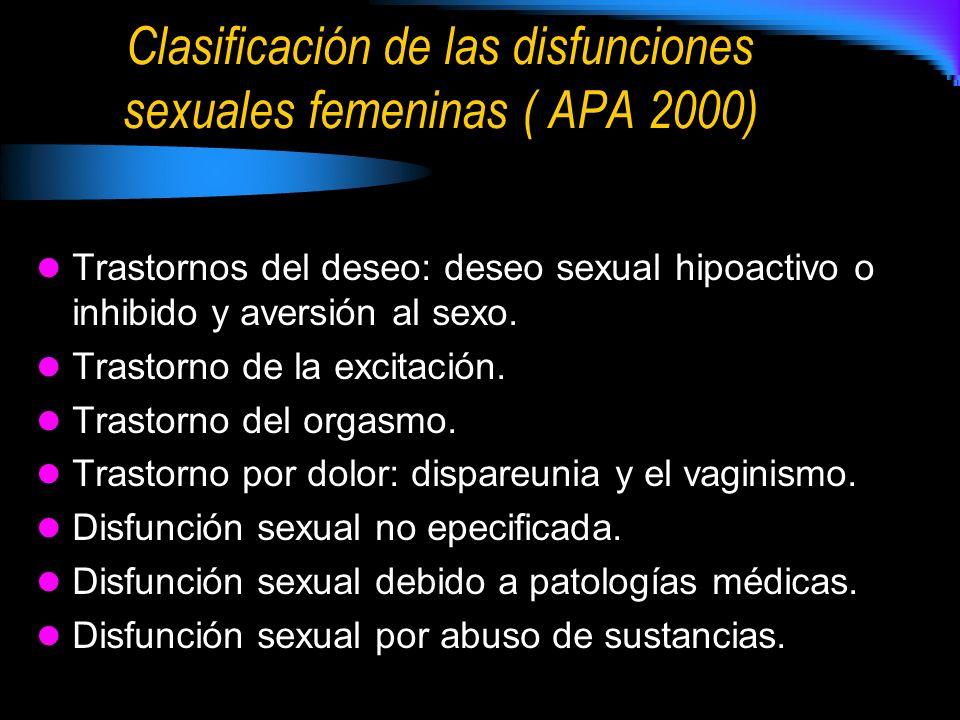 Clasificación de las disfunciones sexuales femeninas ( APA 2000) Trastornos del deseo: deseo sexual hipoactivo o inhibido y aversión al sexo. Trastorn