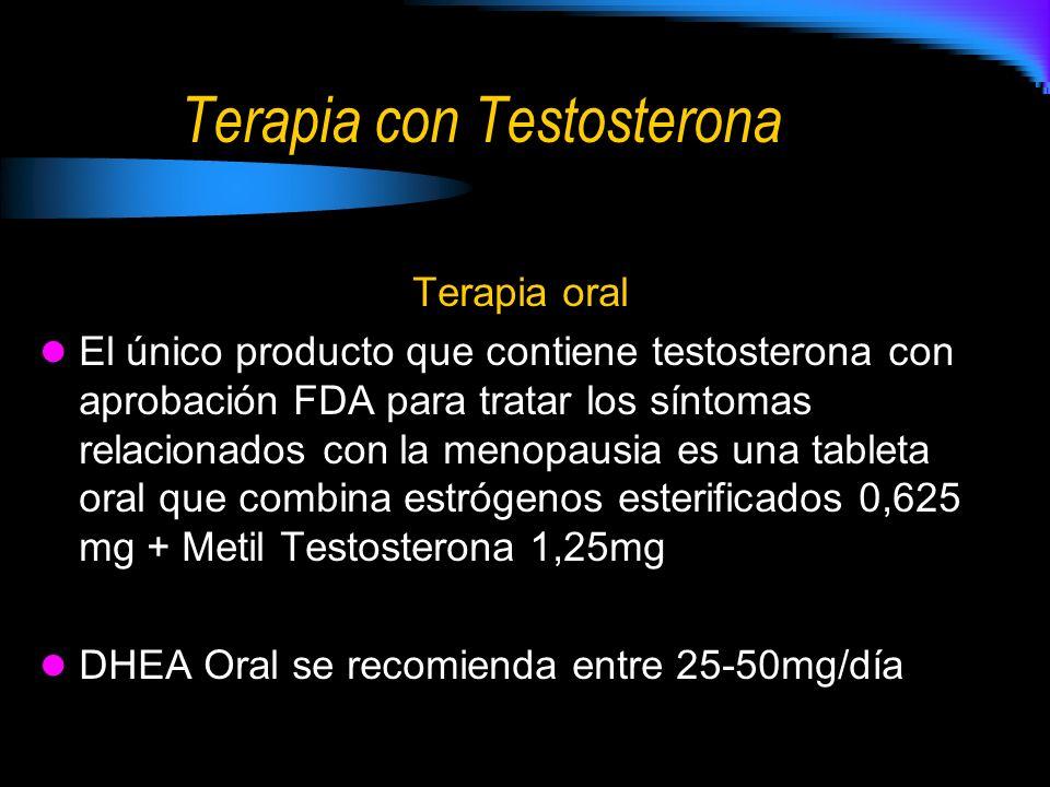 Terapia con Testosterona Terapia oral El único producto que contiene testosterona con aprobación FDA para tratar los síntomas relacionados con la meno