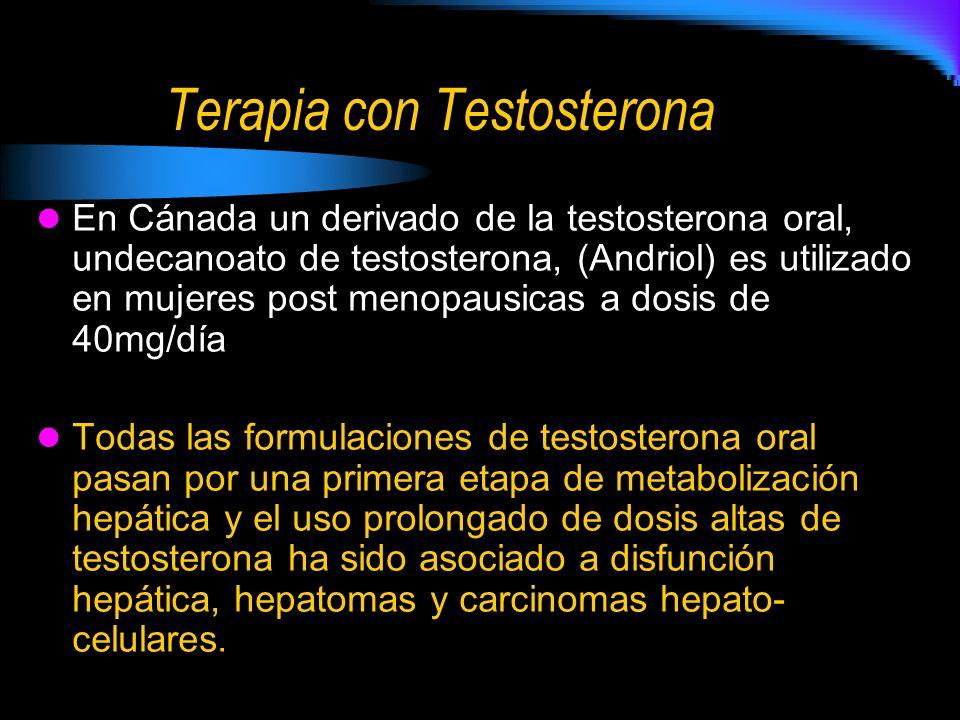 Terapia con Testosterona En Cánada un derivado de la testosterona oral, undecanoato de testosterona, (Andriol) es utilizado en mujeres post menopausicas a dosis de 40mg/día Todas las formulaciones de testosterona oral pasan por una primera etapa de metabolización hepática y el uso prolongado de dosis altas de testosterona ha sido asociado a disfunción hepática, hepatomas y carcinomas hepato- celulares.