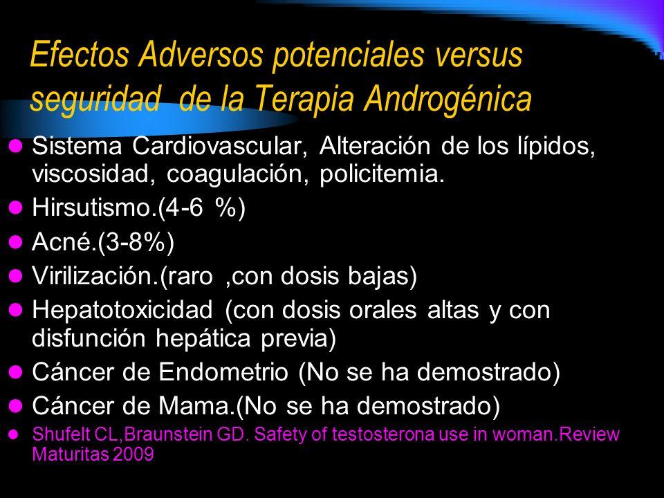 Efectos Adversos potenciales versus seguridad de la Terapia Androgénica Sistema Cardiovascular, Alteración de los lípidos, viscosidad, coagulación, policitemia.