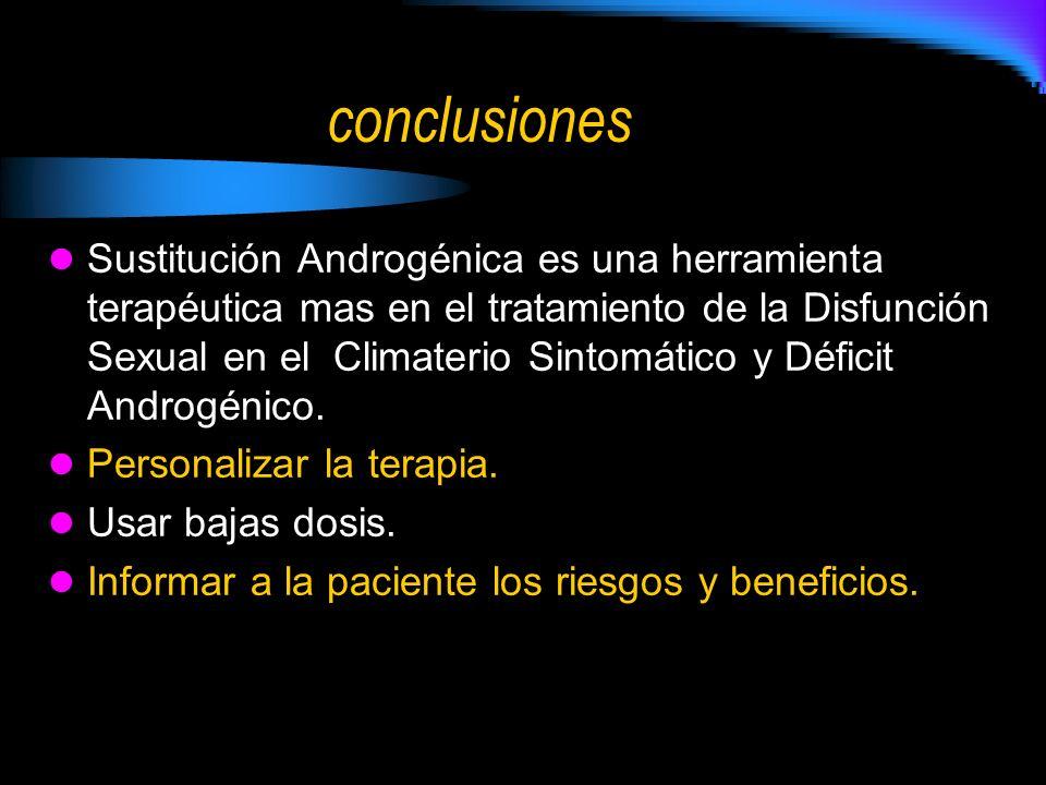 conclusiones Sustitución Androgénica es una herramienta terapéutica mas en el tratamiento de la Disfunción Sexual en el Climaterio Sintomático y Déficit Androgénico.