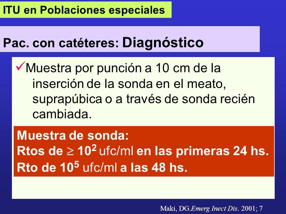 ITU en Poblaciones especiales Pac. con catéteres: Diagnóstico Muestra por punción a 10 cm de la inserción de la sonda en el meato, suprapúbica o a tra