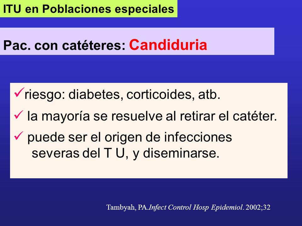 ITU en Poblaciones especiales Pac. con catéteres: Candiduria riesgo: diabetes, corticoides, atb. la mayoría se resuelve al retirar el catéter. puede s