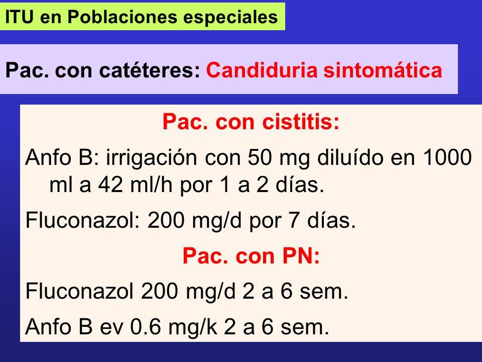 ITU en Poblaciones especiales Pac. con catéteres: Candiduria sintomática Pac. con cistitis: Anfo B: irrigación con 50 mg diluído en 1000 ml a 42 ml/h