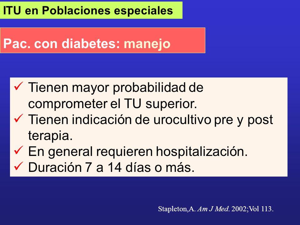 ITU en Poblaciones especiales Pac. con diabetes: manejo Stapleton,A. Am J Med. 2002;Vol 113. Tienen mayor probabilidad de comprometer el TU superior.