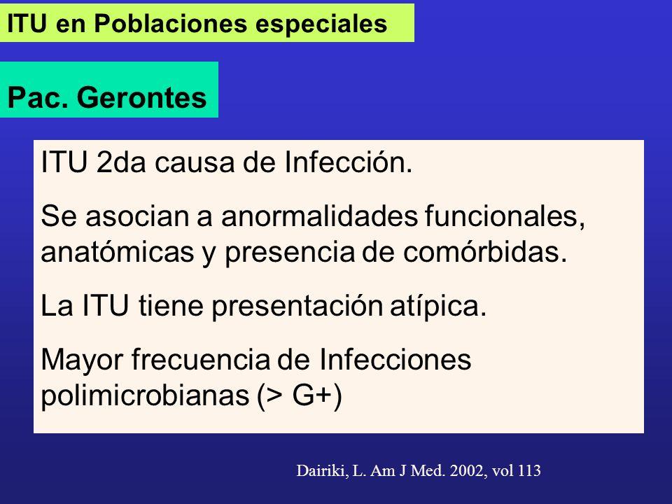 ITU en Poblaciones especiales Pac. Gerontes ITU 2da causa de Infección. Se asocian a anormalidades funcionales, anatómicas y presencia de comórbidas.