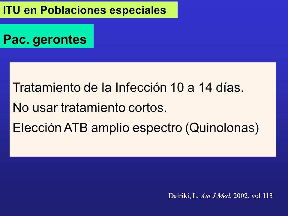 ITU en Poblaciones especiales Pac. gerontes Tratamiento de la Infección 10 a 14 días. No usar tratamiento cortos. Elección ATB amplio espectro (Quinol