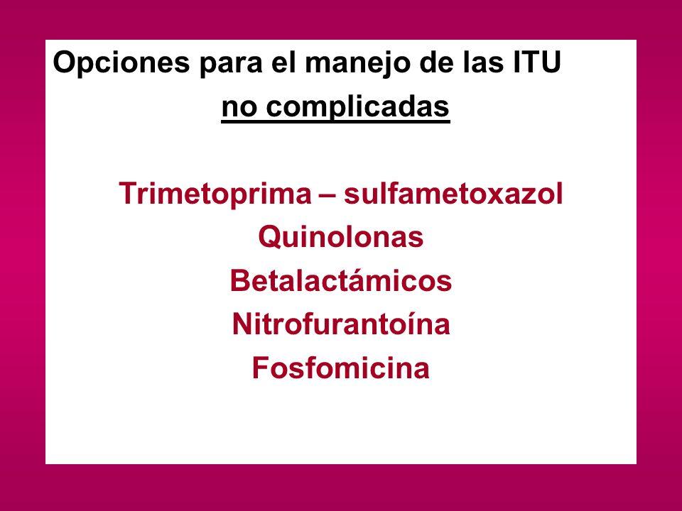 Opciones para el manejo de las ITU no complicadas Trimetoprima – sulfametoxazol Quinolonas Betalactámicos Nitrofurantoína Fosfomicina