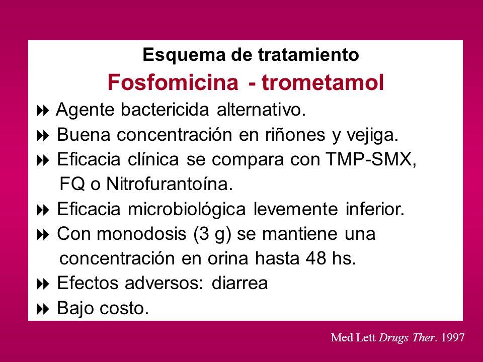 Esquema de tratamiento Fosfomicina - trometamol Agente bactericida alternativo. Buena concentración en riñones y vejiga. Eficacia clínica se compara c