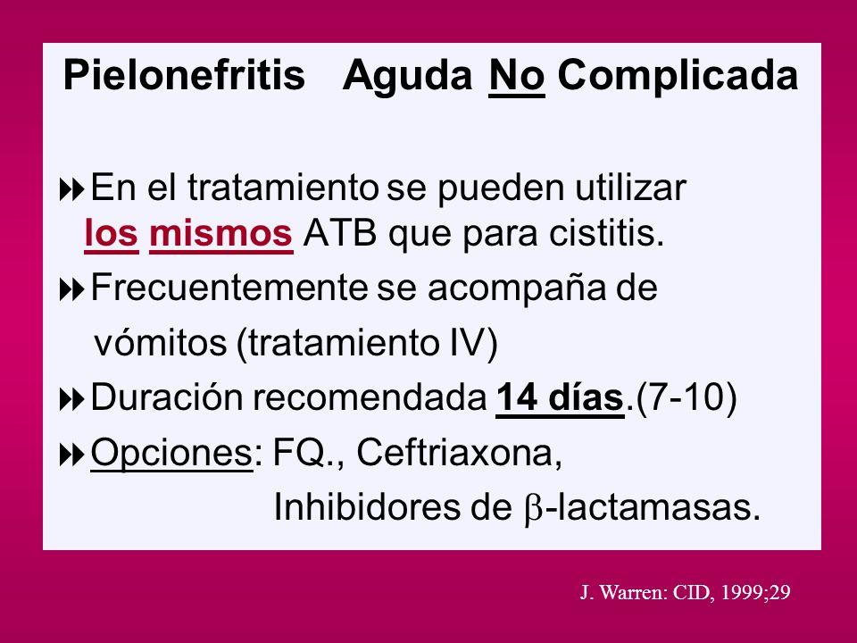 Pielonefritis Aguda No Complicada En el tratamiento se pueden utilizar los mismos ATB que para cistitis. Frecuentemente se acompaña de vómitos (tratam
