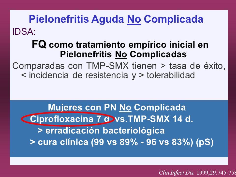 Pielonefritis Aguda No Complicada IDSA: FQ FQ como tratamiento empírico inicial en Pielonefritis No Complicadas Comparadas con TMP-SMX tienen > tasa d