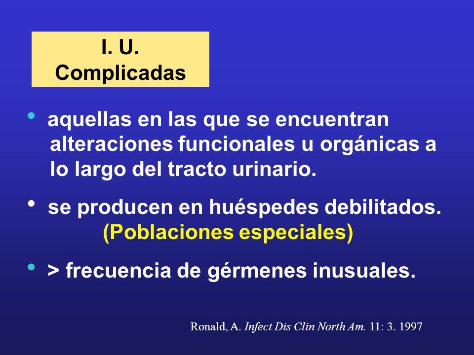 I. U. Complicadas aquellas en las que se encuentran alteraciones funcionales u orgánicas a lo largo del tracto urinario. se producen en huéspedes debi