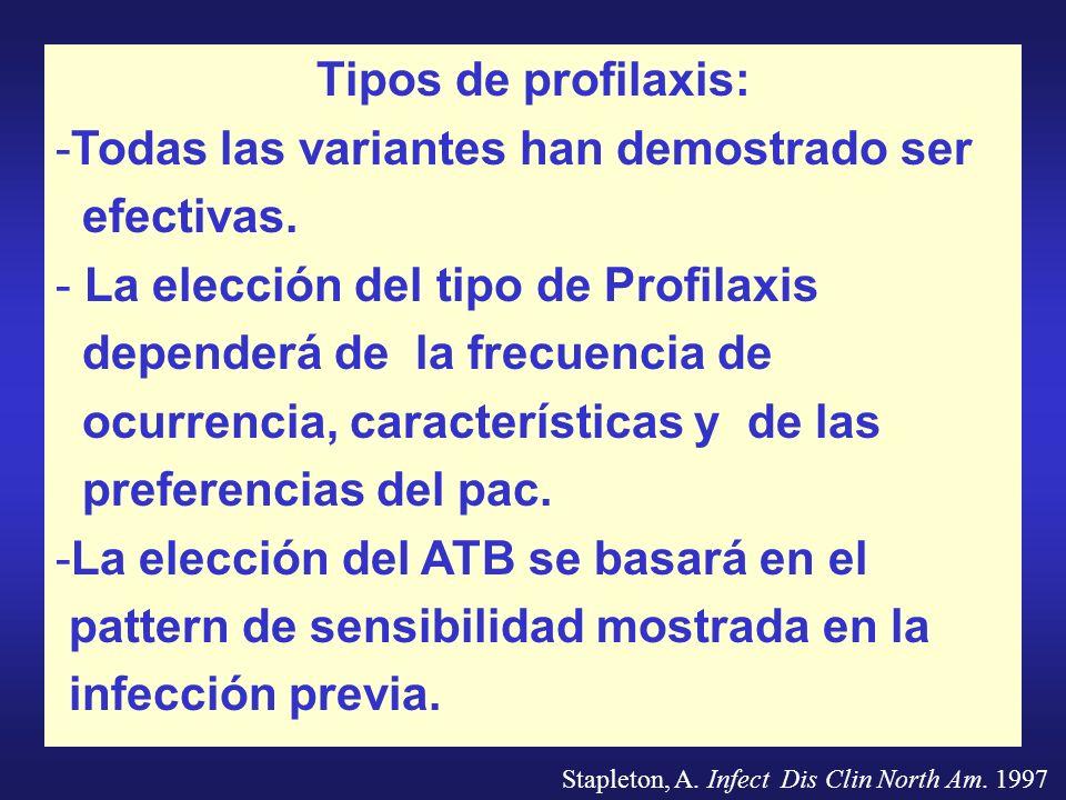 Tipos de profilaxis: -Todas las variantes han demostrado ser efectivas. - La elección del tipo de Profilaxis dependerá de la frecuencia de ocurrencia,