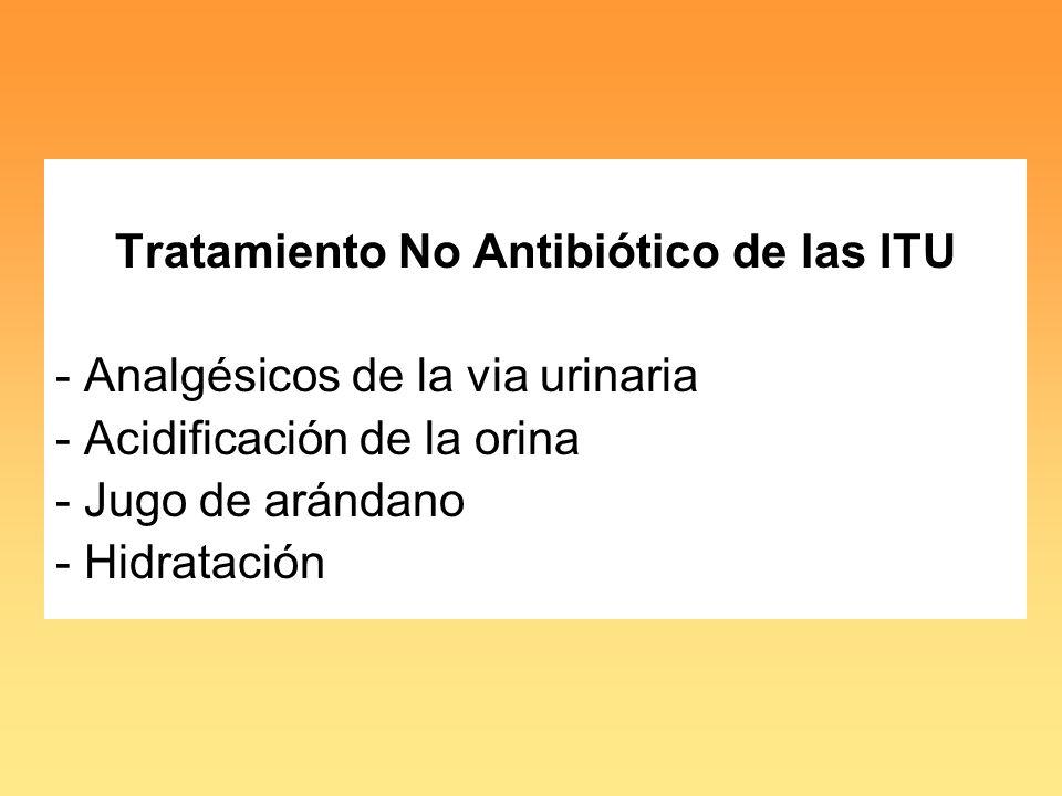 Tratamiento No Antibiótico de las ITU - Analgésicos de la via urinaria - Acidificación de la orina - Jugo de arándano - Hidratación