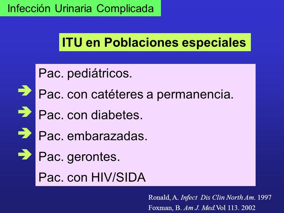 Infección Urinaria Complicada ITU en Poblaciones especiales Pac. pediátricos. Pac. con catéteres a permanencia. Pac. con diabetes. Pac. embarazadas. P