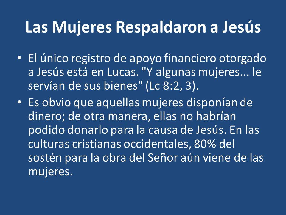 Las Mujeres Respaldaron a Jesús El único registro de apoyo financiero otorgado a Jesús está en Lucas.