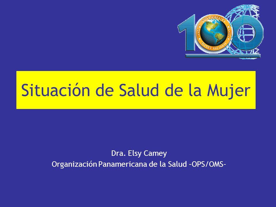 Situación de Salud de la Mujer Dra. Elsy Camey Organización Panamericana de la Salud –OPS/OMS-