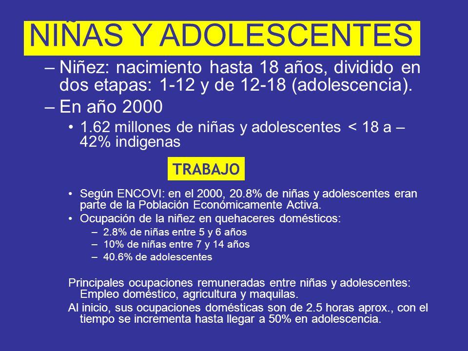 Según ENCOVI: en el 2000, 20.8% de niñas y adolescentes eran parte de la Población Económicamente Activa. Ocupación de la niñez en quehaceres doméstic