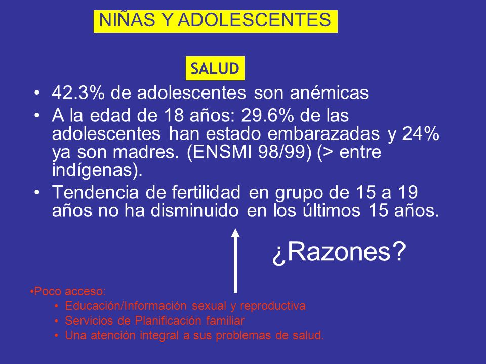 42.3% de adolescentes son anémicas A la edad de 18 años: 29.6% de las adolescentes han estado embarazadas y 24% ya son madres. (ENSMI 98/99) (> entre