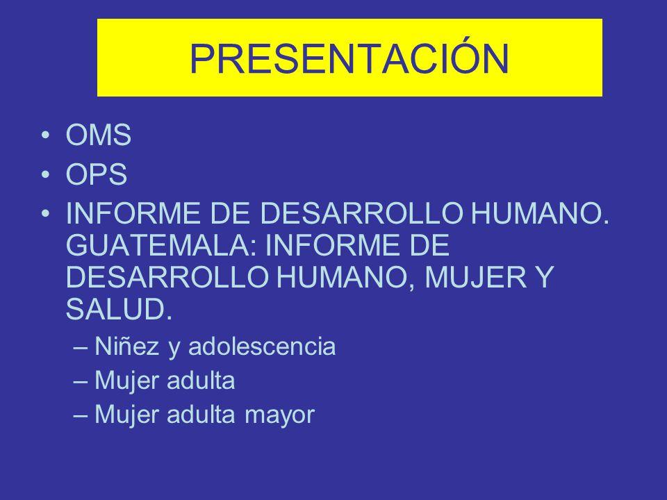 PRESENTACIÓN OMS OPS INFORME DE DESARROLLO HUMANO. GUATEMALA: INFORME DE DESARROLLO HUMANO, MUJER Y SALUD. –Niñez y adolescencia –Mujer adulta –Mujer