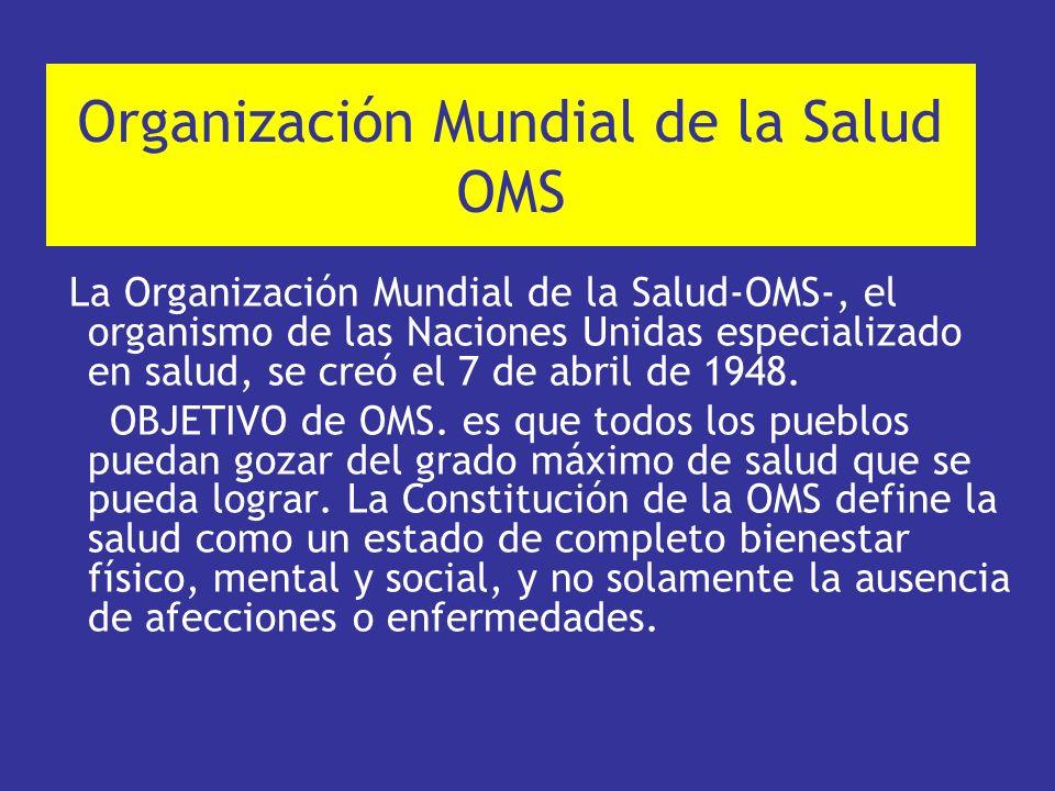 Organización Mundial de la Salud OMS La Organización Mundial de la Salud-OMS-, el organismo de las Naciones Unidas especializado en salud, se creó el