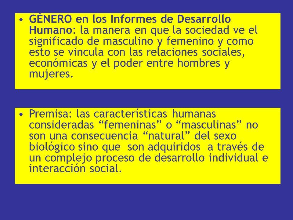 GÉNERO en los Informes de Desarrollo Humano: la manera en que la sociedad ve el significado de masculino y femenino y como esto se vincula con las rel