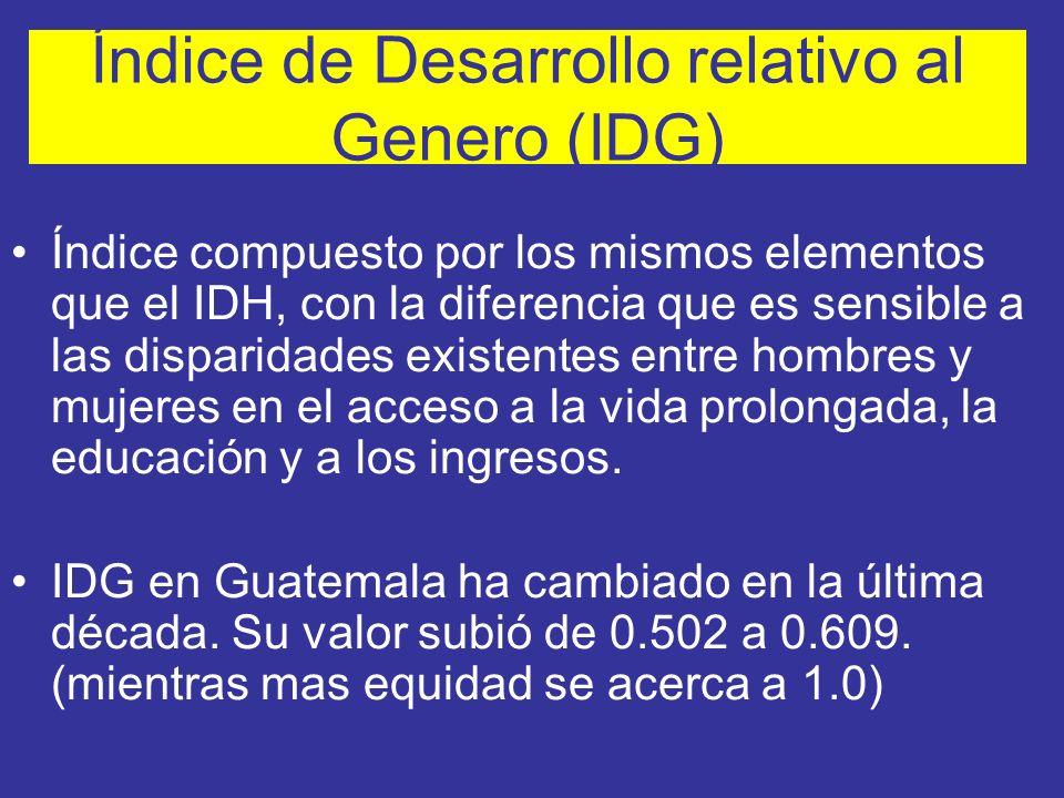 Índice de Desarrollo relativo al Genero (IDG) Índice compuesto por los mismos elementos que el IDH, con la diferencia que es sensible a las disparidad