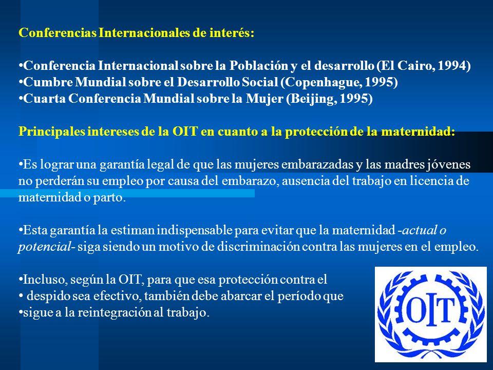 Conferencias Internacionales de interés: Conferencia Internacional sobre la Población y el desarrollo (El Cairo, 1994) Cumbre Mundial sobre el Desarro