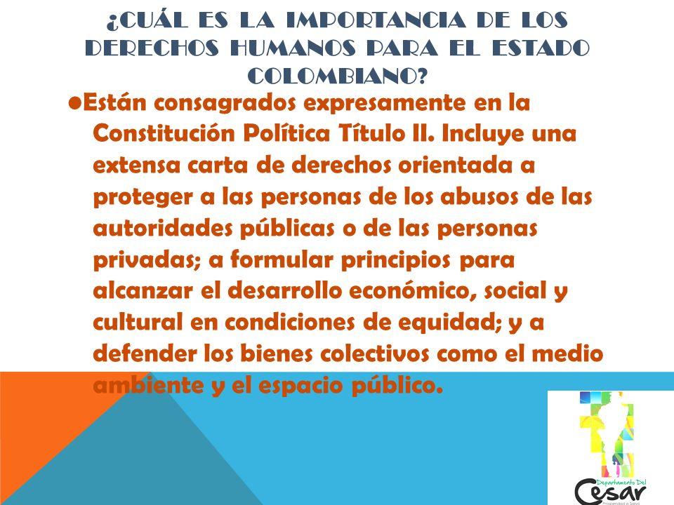 ¿CUÁL ES LA IMPORTANCIA DE LOS DERECHOS HUMANOS PARA EL ESTADO COLOMBIANO ? Están consagrados expresamente en la Constitución Política Título II. Incl