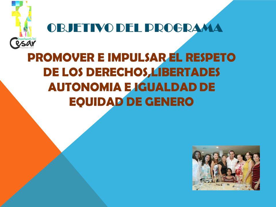 OBJETIVO DEL PROGRAMA PROMOVER E IMPULSAR EL RESPETO DE LOS DERECHOS,LIBERTADES AUTONOMIA E IGUALDAD DE EQUIDAD DE GENERO