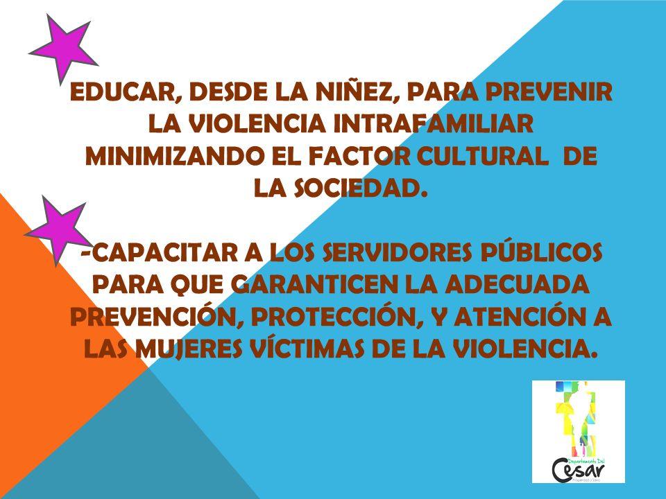 - EDUCAR, DESDE LA NIÑEZ, PARA PREVENIR LA VIOLENCIA INTRAFAMILIAR MINIMIZANDO EL FACTOR CULTURAL DE LA SOCIEDAD. -CAPACITAR A LOS SERVIDORES PÚBLICOS