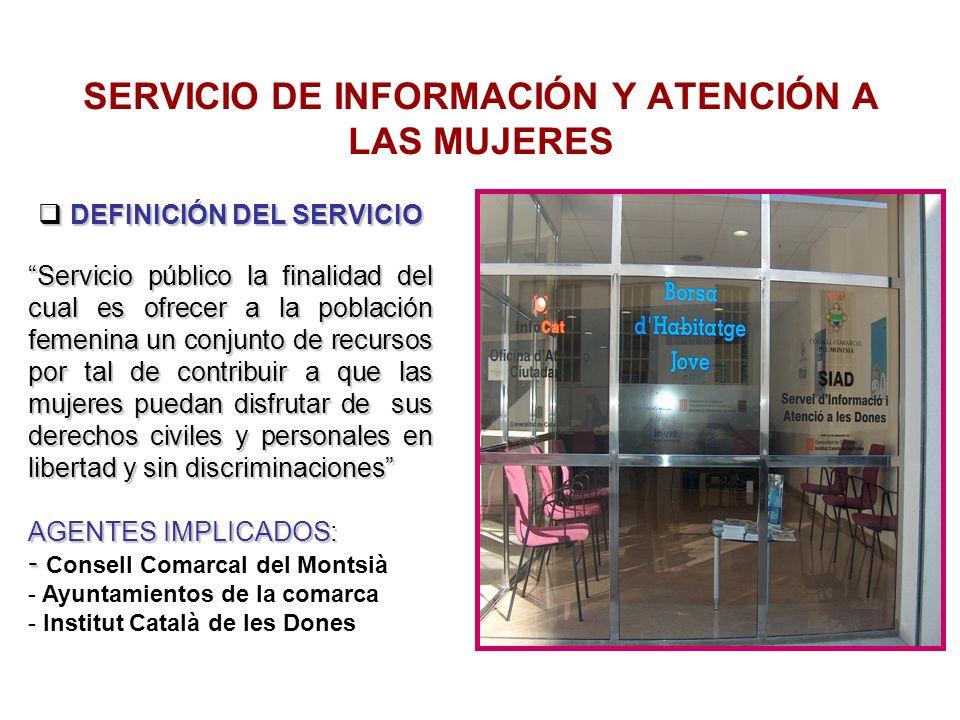 SERVICIO DE INFORMACIÓN Y ATENCIÓN A LAS MUJERES DEFINICIÓN DEL SERVICIO DEFINICIÓN DEL SERVICIO Servicio público la finalidad del cual es ofrecer a l