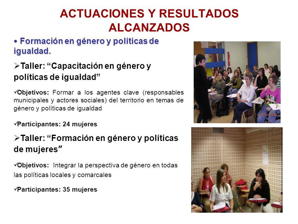 ACTUACIONES Y RESULTADOS ALCANZADOS Formación en género y políticas de igualdad. Formación en género y políticas de igualdad. Taller: Capacitación en