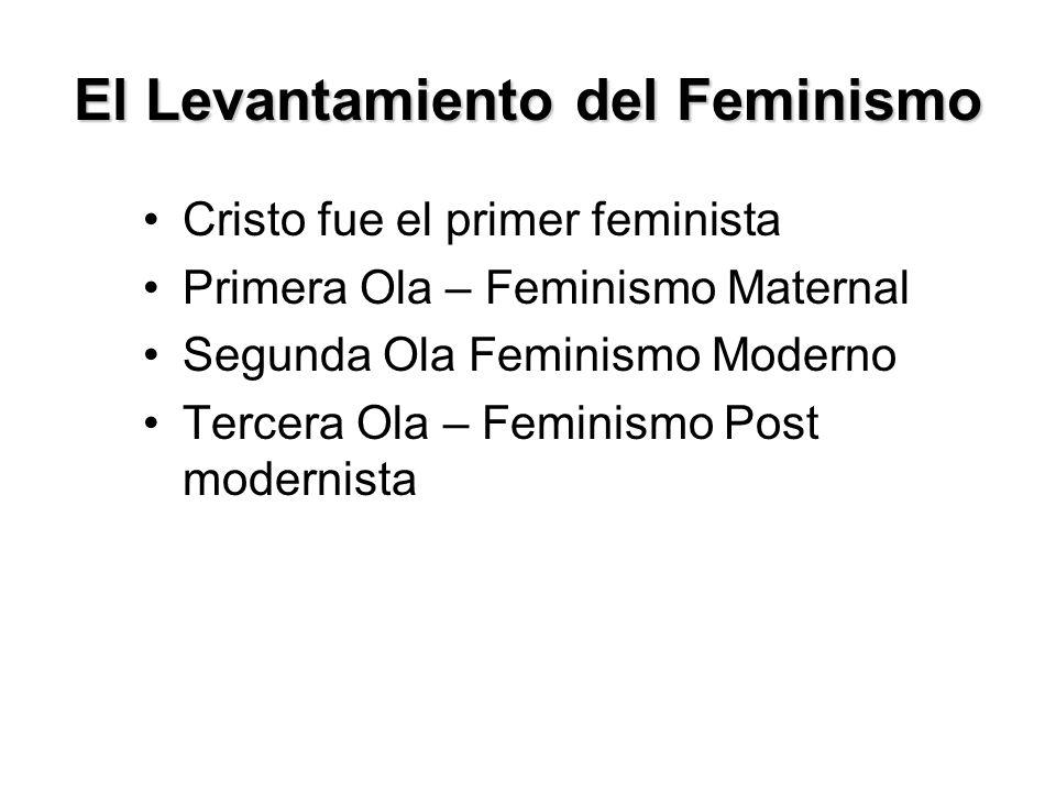 Feministas de Tercera Ola: Feminismo Post modernista Finales del siglo 20 e inicios del siglo 21 Humanismo Secular – No Meta-narrativo Interesados en: –Destituir al hombre - distinciones femeninas –Intercambiabilidad El hombre y la mujer son iguales (lo mismo)