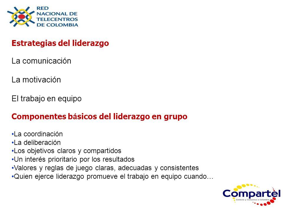 Estrategias del liderazgo La comunicación La motivación El trabajo en equipo Componentes b á sicos del liderazgo en grupo La coordinación La deliberac