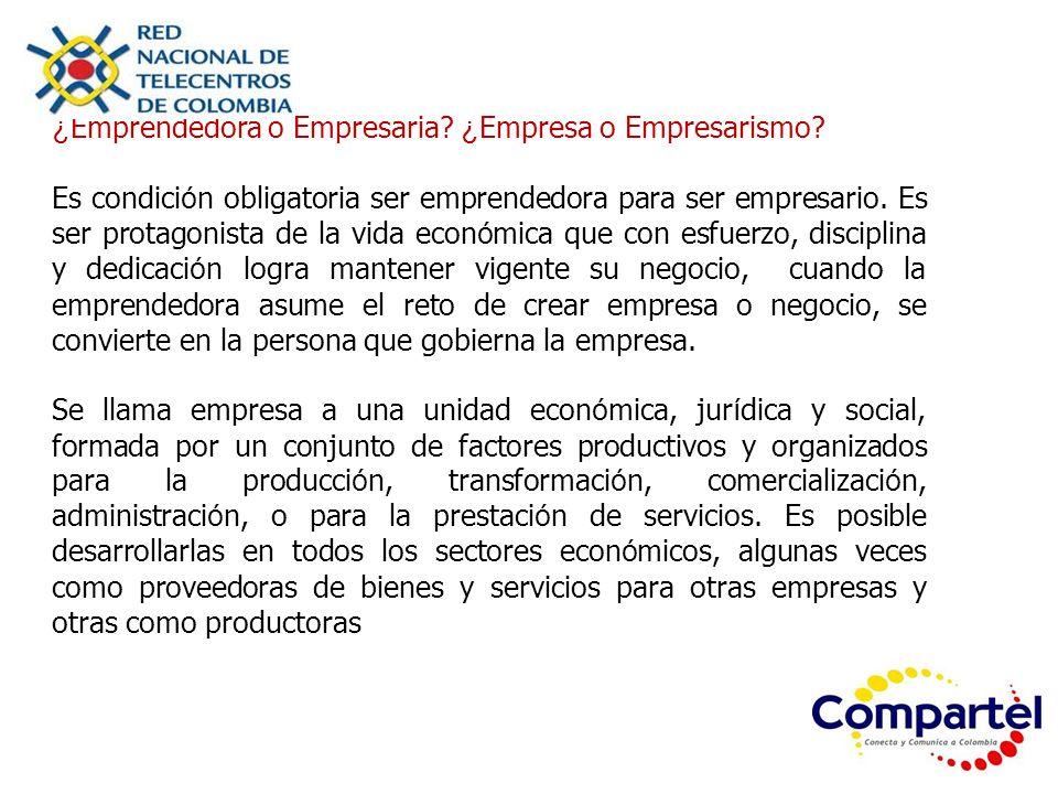 ¿ Emprendedora o Empresaria? ¿ Empresa o Empresarismo? Es condici ó n obligatoria ser emprendedora para ser empresario. Es ser protagonista de la vida