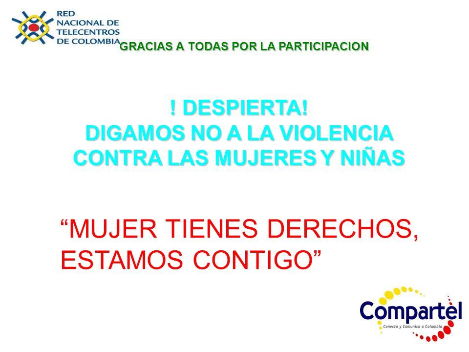 GRACIAS A TODAS POR LA PARTICIPACION ! DESPIERTA! DIGAMOS NO A LA VIOLENCIA CONTRA LAS MUJERES Y NIÑAS MUJER TIENES DERECHOS, ESTAMOS CONTIGO