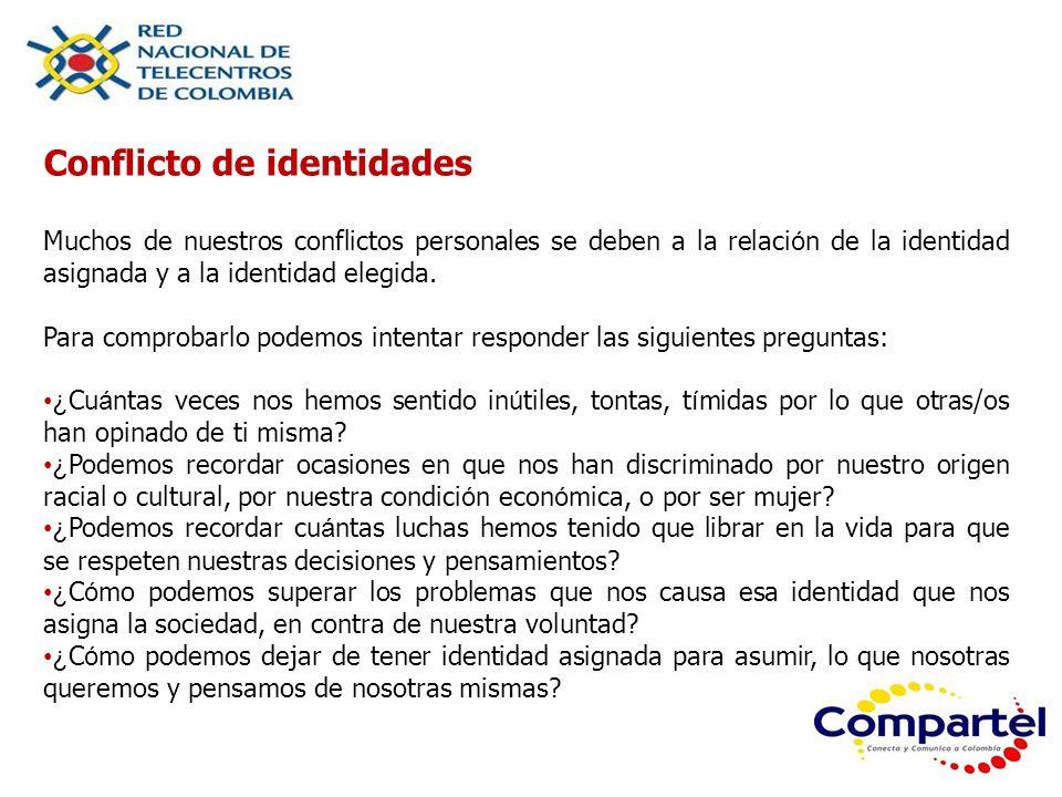 Conflicto de identidades Muchos de nuestros conflictos personales se deben a la relaci ó n de la identidad asignada y a la identidad elegida. Para com