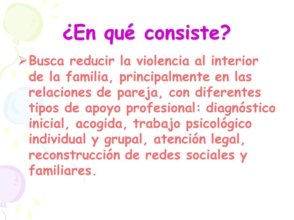 ¿En qué consiste? Busca reducir la violencia al interior de la familia, principalmente en las relaciones de pareja, con diferentes tipos de apoyo prof