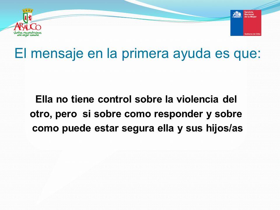 El mensaje en la primera ayuda es que: Ella no tiene control sobre la violencia del otro, pero si sobre como responder y sobre como puede estar segura