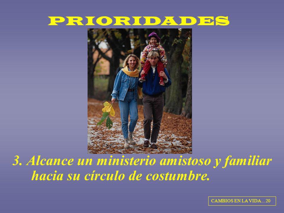 PRIORIDADES 3. Alcance un ministerio amistoso y familiar hacia su círculo de costumbre. CAMBIOS EN LA VIDA... 20