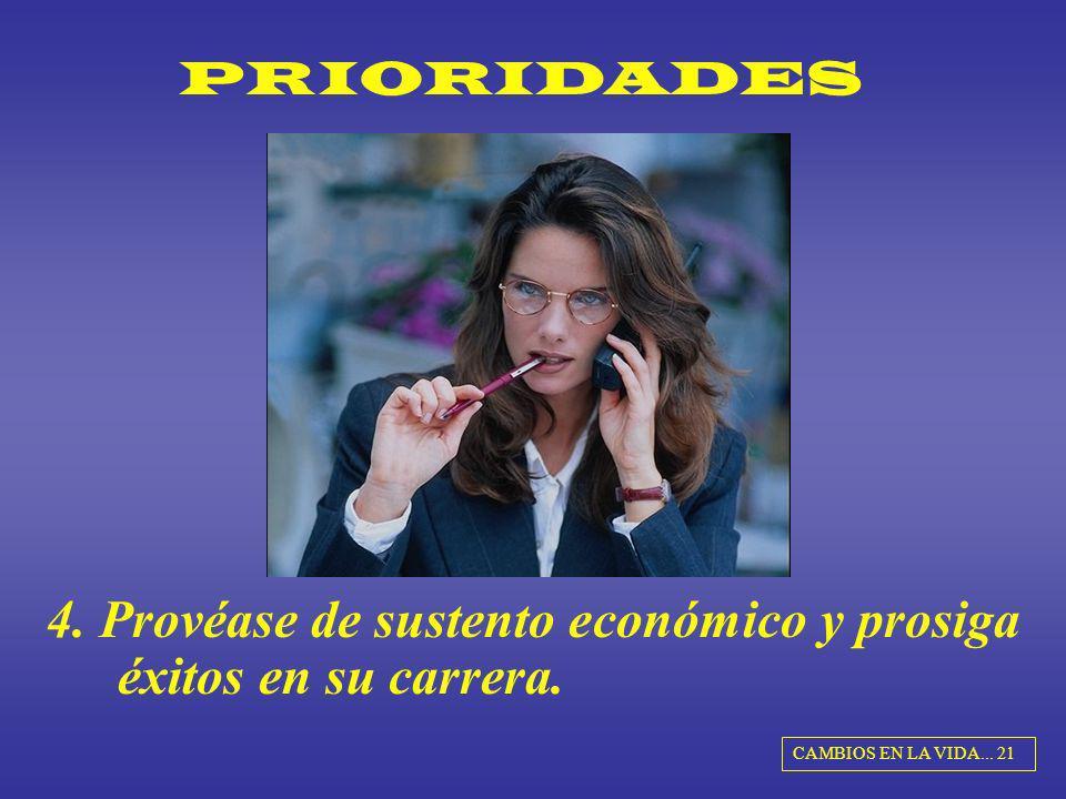 PRIORIDADES 4. Provéase de sustento económico y prosiga éxitos en su carrera. CAMBIOS EN LA VIDA... 21