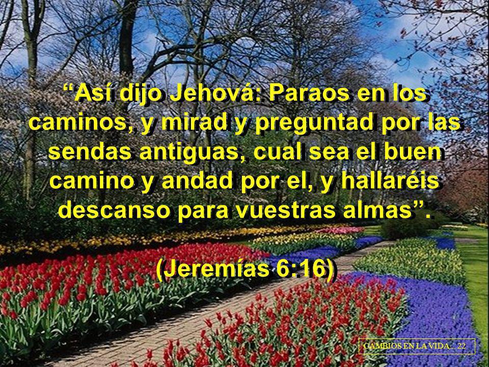 Así dijo Jehová: Paraos en los caminos, y mirad y preguntad por las sendas antiguas, cual sea el buen camino y andad por el, y hallaréis descanso para