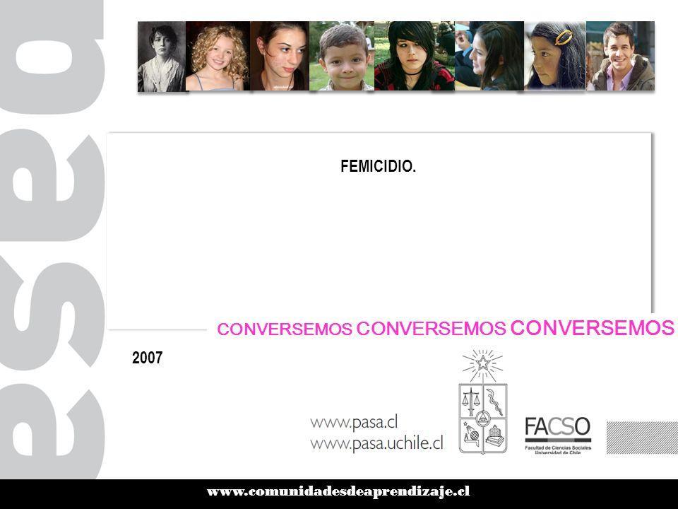 www.comunidadesdeaprendizaje.cl FEMICIDIO. 2007 CONVERSEMOS CONVERSEMOS CONVERSEMOS