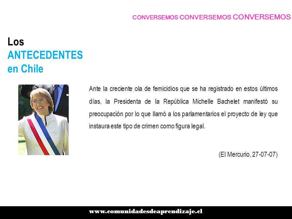 Los ANTECEDENTES en Chile Ante la creciente ola de femicidios que se ha registrado en estos últimos días, la Presidenta de la República Michelle Bache