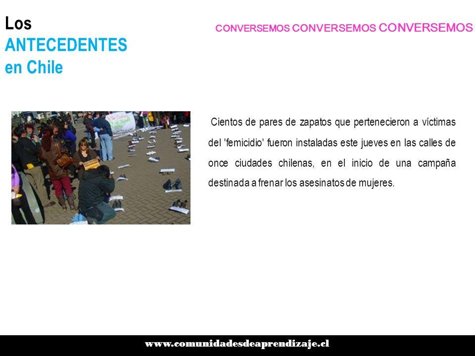 Los ANTECEDENTES en Chile Cientos de pares de zapatos que pertenecieron a víctimas del 'femicidio' fueron instaladas este jueves en las calles de once