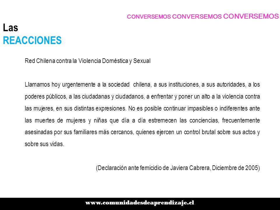 Red Chilena contra la Violencia Doméstica y Sexual Llamamos hoy urgentemente a la sociedad chilena, a sus instituciones, a sus autoridades, a los pode