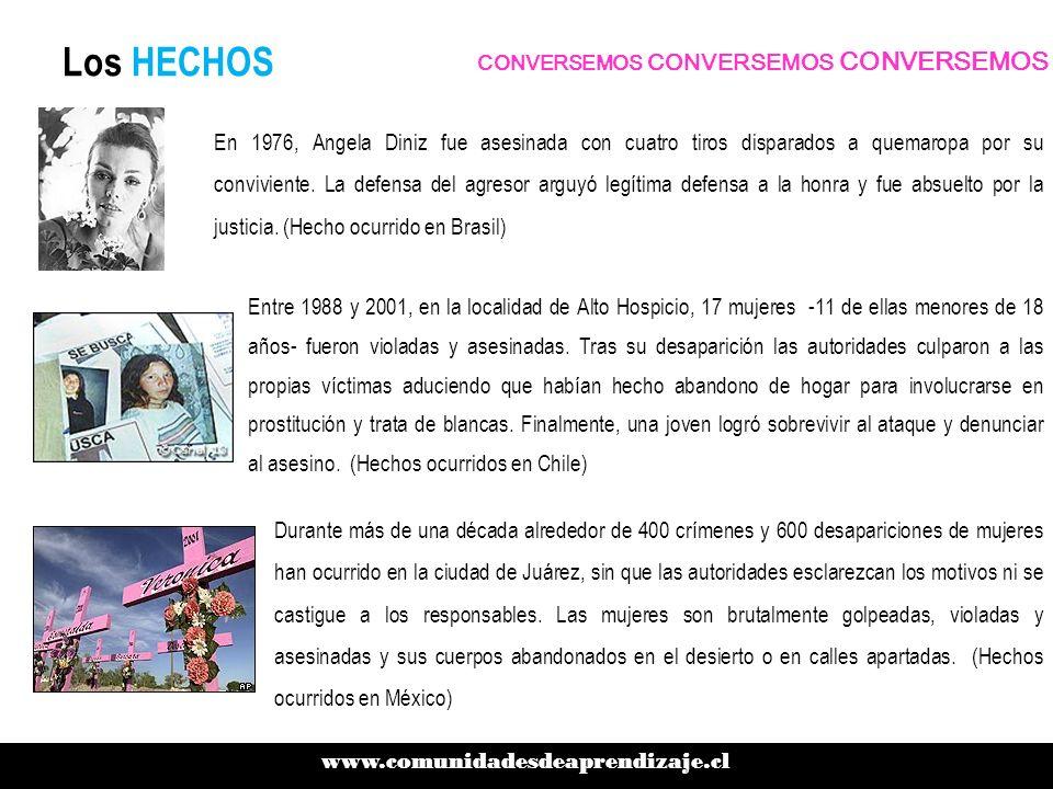 Los HECHOS www.comunidadesdeaprendizaje.cl CONVERSEMOS CONVERSEMOS CONVERSEMOS Entre 1988 y 2001, en la localidad de Alto Hospicio, 17 mujeres -11 de