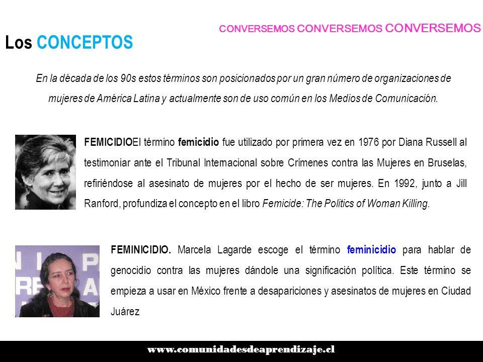 Los CONCEPTOS www.comunidadesdeaprendizaje.cl CONVERSEMOS CONVERSEMOS CONVERSEMOS FEMICIDIO El término femicidio fue utilizado por primera vez en 1976