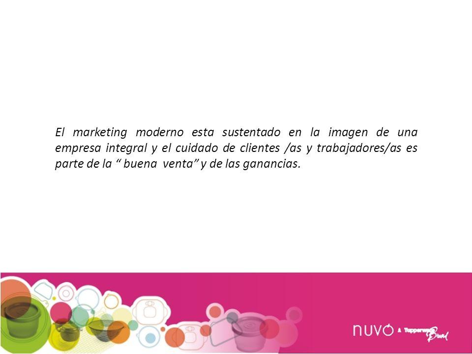 El marketing moderno esta sustentado en la imagen de una empresa integral y el cuidado de clientes /as y trabajadores/as es parte de la buena venta y de las ganancias.